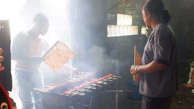 Smoking skewers, bali street food