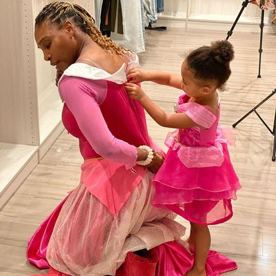 Playing dress up with Olympia