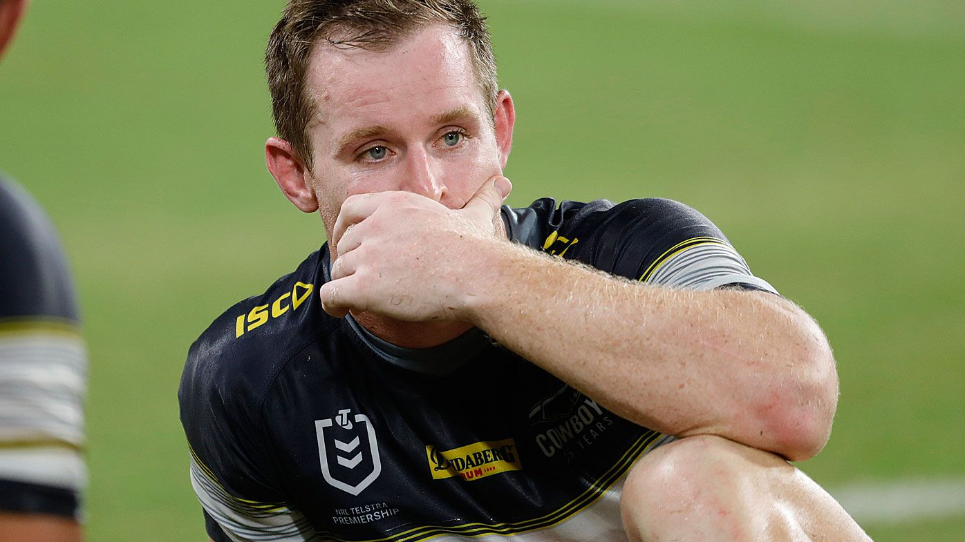 Michael Morgan of the Cowboys reacts his side's loss to Brisbane