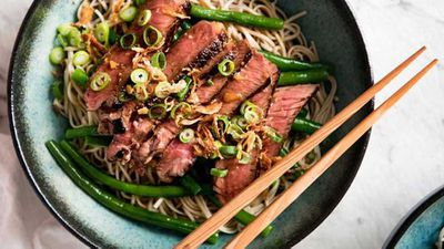 "Recipe:&nbsp;<a href=""http://kitchen.nine.com.au/2017/06/05/15/52/beef-soba-noodle-bowl-with-green-beans"" target=""_top"" draggable=""false"">RecipeTin Eats beef soba noodle bowl with green beans</a>"