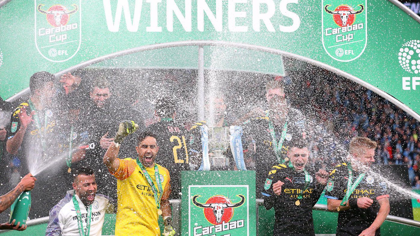 Manchester City beat Aston Villa to win English League Cup