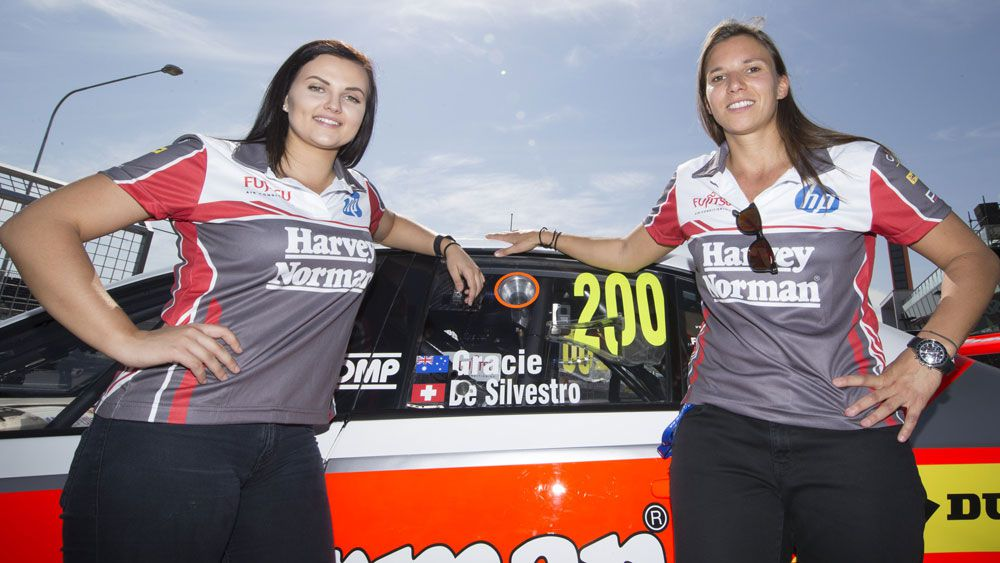 Swiss driver Simona De Silvestro (right) with her Bathurst co-driver Renee Gracie. (AAP)