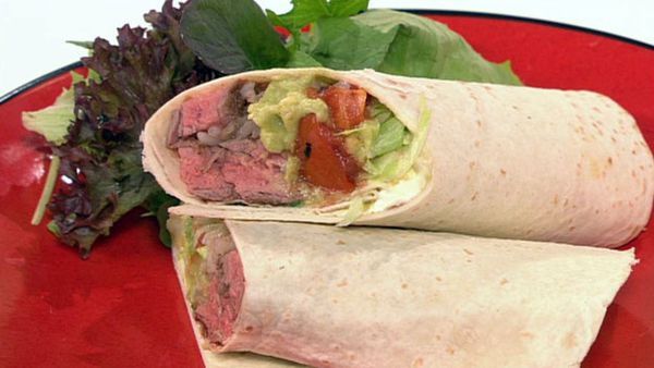 Spicy steak burritos with spanish rice and char-grilled tomato