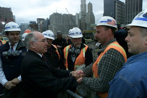 John Howard talks to workers at Ground Zero back in 2002, months after 9/11.