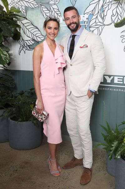 Rachael Finch in Asilio and Kris Smith in MJ Bale at the Myer Spring Racing 2017 Launch.