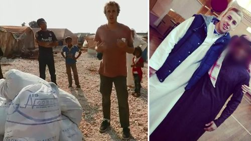 Oliver Bridgeman in Syria (left) and back in Australia (right).