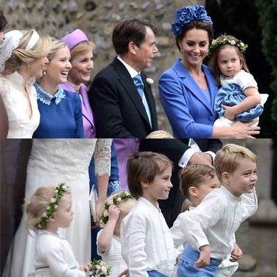While Prince George, 5, melted hearts in his pageboy costume and Princess Charlotte, 3, looked adorable in her pearly white bridesmaid outfit, it was Kate Middleton that stole the show. The Duchess donned a blue coatdress by Catherine Walker & Co and matching floral headpiece.