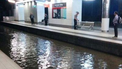 Fortitude Valley train station was underwater. (Steve Taylor)