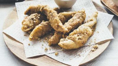 """<strong>Recipe:<a href=""""http://kitchen.nine.com.au/2016/10/05/11/56/beer-battered-fish-with-macadamia-salt-and-pepper-dust"""" target=""""_top"""">Beer battered fish with macadamia salt and pepper dust</a></strong>"""