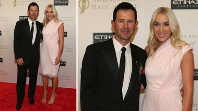 <p>Australian athletes have dazzled on the red carpet at the Sport Australia Hall of Fame Inductions and Awards Gala Dinner in Melbourne tonight.</p><p>Here, former Australian cricket captain Ricky Ponting and wife Rianna arrive.</p><p><strong>Click through the gallery to see more sporting stars at the special event.</strong></p><p>(AAP)</p>