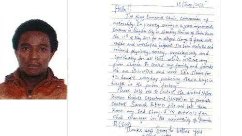 Prison slave hid note in luxury shop's bag