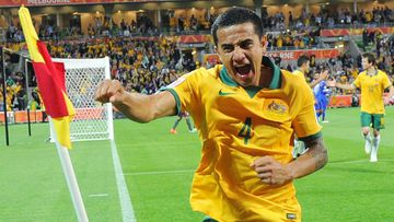 Tim Cahill celebrates his equaliser against Kuwait. (Getty)