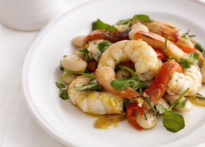 """Recipe:&nbsp;<a href=""""http://kitchen.nine.com.au/2016/05/17/14/54/garlic-and-rosemary-prawns-with-white-beans"""" target=""""_top"""" draggable=""""false"""">Garlic and rosemary prawns with white beans</a>"""