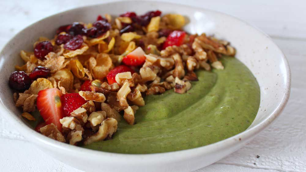 Will and Steve's green smoothie bowl with cereal, berries, passionfruit and toasted walnuts recipe