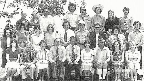 An old class photo shows Frank Urbancic in a fresh white shirt with a scruffy postgrad beard. (9NEWS)