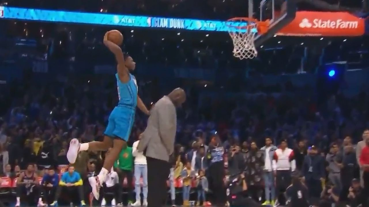 'Not human': NBA rookie soars over Shaq to be crowned Slam Dunk champ