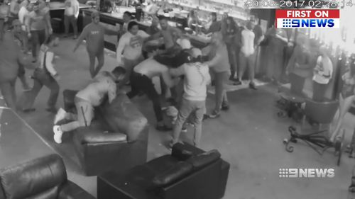 Many of those involved in the brawl were wearing Comancheros colours. Picture: 9NEWS