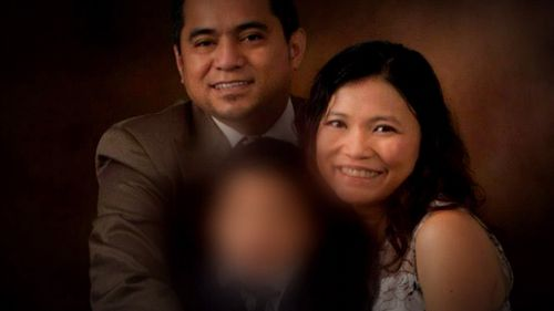Alexander Villaluna (left) has pleaded guilty to murdering Mr Collins and wounding his former partner Ms Pilapil (right).