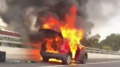 Traffic delays after car goes up in flames on M4