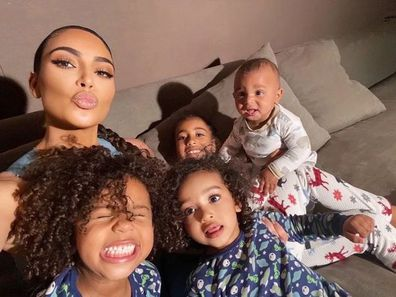 Kim Kardashian with her children North, Saint, Chicago and Psalm.