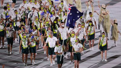 Australian athletes participate  the stadium