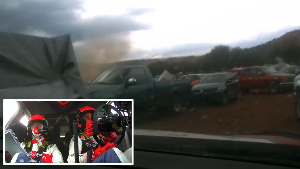 Dash Cam footage shows British rally driver's dash through carpark