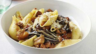 "Recipe:&nbsp;<a href=""http://kitchen.nine.com.au/2016/05/17/15/12/conchiglie-with-braised-pork-belly-and-radicchio"" target=""_top"">Conchiglie with braised pork belly and radicchio</a>"