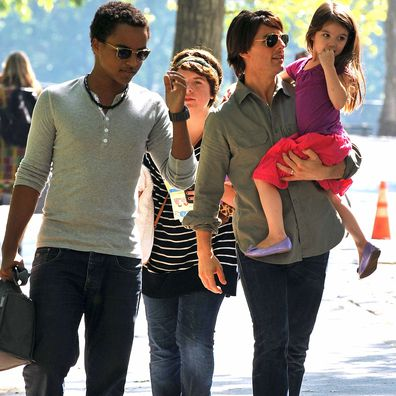 Tom Cruise, Connor Cruise, and Isabella Cruise, Suri Cruise on the streets of Manhattan on September 7, 2010 in New York City.