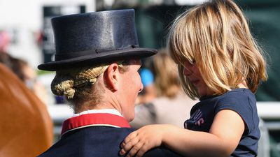 Mia Tindall cheers on Zara Phillips during horse trials, September 2017