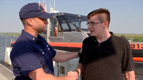 A US Coast Guard search party was launched to rescue Blake, however he eventually floated towards a nearby golf course and received help from there. Picture: CNN.