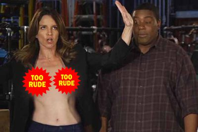 Tina Fey mocked her Emmys nipple slip by flashing us in her <i>Saturday Night Live</i> promo.