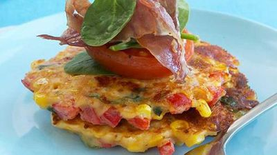 "Recipe: <a href=""http://kitchen.nine.com.au/2016/05/17/22/48/corn-and-capsicum-fritters"" target=""_top"">Corn and capsicum fritters</a>"