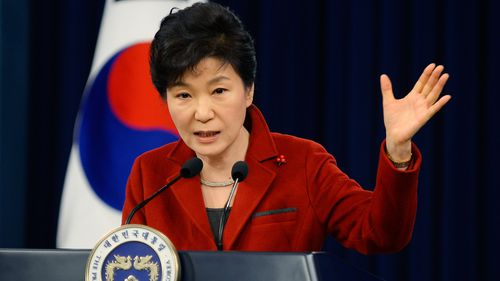 Former South Korean President Park Geun-Hye speaks during a press conference on January 12, 2015. (Photo by Kim Min-Hee-Pool/Getty Images)