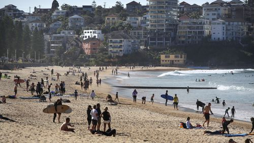 People at Manly Beach, Sydney.