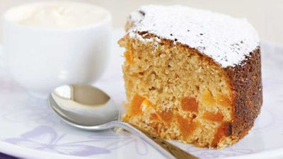 """Recipe:&nbsp;<a href=""""http://kitchen.nine.com.au/2016/05/13/11/41/one-cup-apricot-cake"""" target=""""_top"""">One cup apricot cake</a>"""