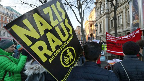 Demonstrators in Vienna protesting against the inclusion of the far right Freedom Party in the new government. (Photo: AP).