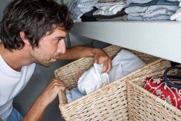 Baskets in the wardrobe are great for sorting clothes (Thinkstock)