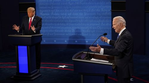 Democratic presidential candidate former Vice President Joe Biden and President Donald Trump answers questions during the second and final presidential debate Thursday, Oct. 22, 2020, at Belmont University in Nashville, Tenn. (AP Photo/Morry Gash, Pool)