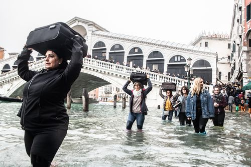Three-quarters of Venice is underwater thanks to an exceptionally high tide.