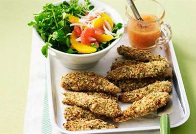 Wednesday: Crumbed chicken with citrus salad