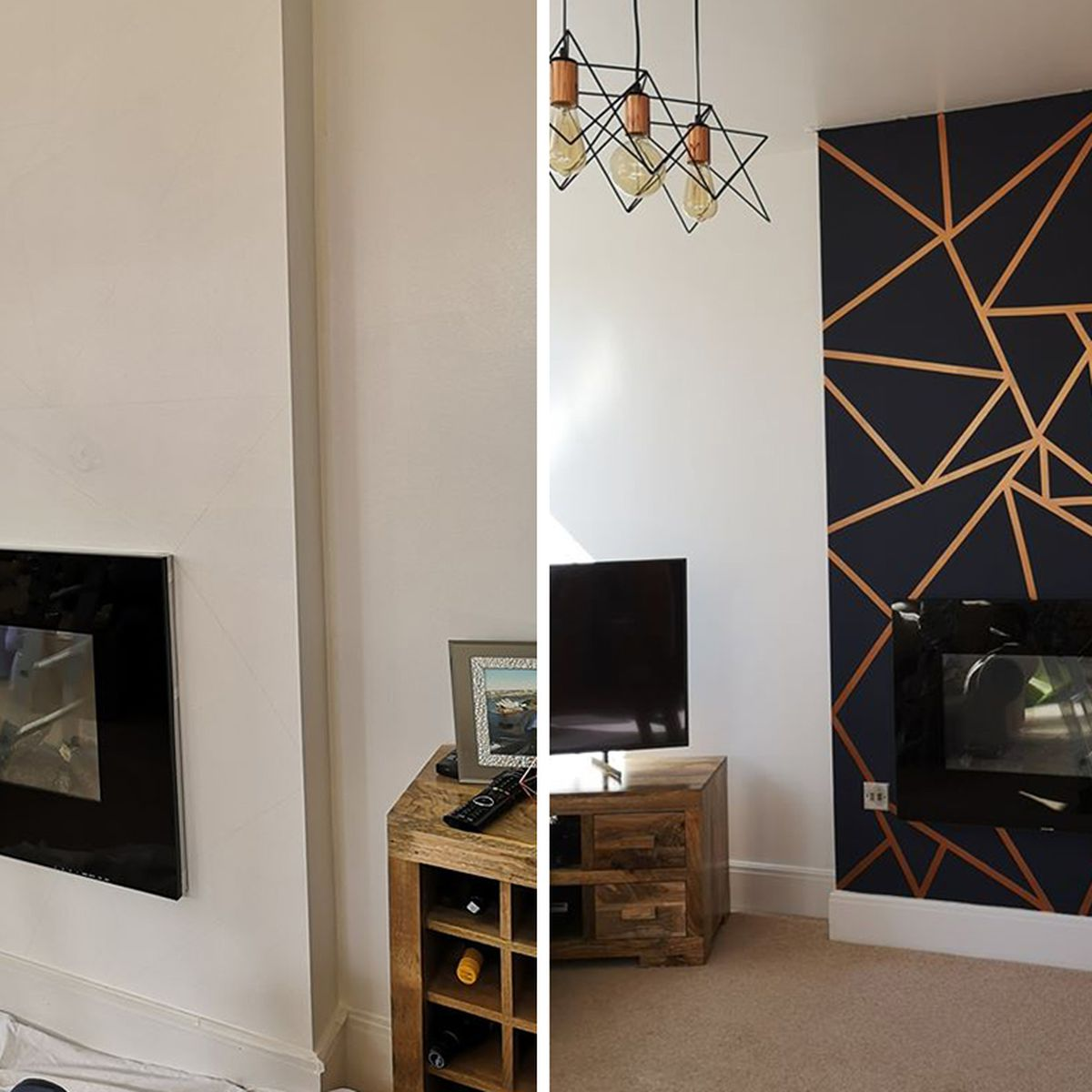 Geometric feature wall: Woman creates her own using painters frog