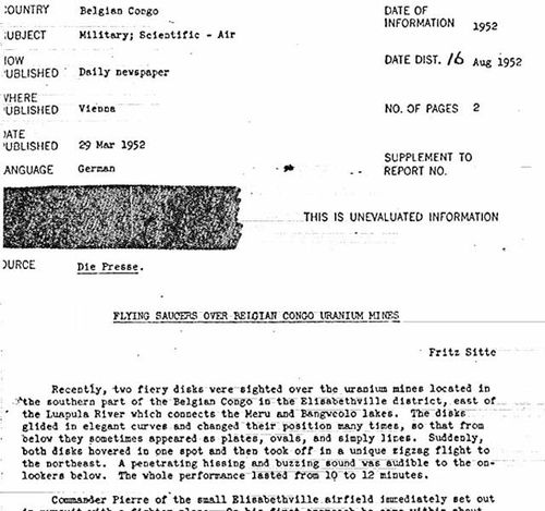 Partial copy of the CIA report documenting a 'UFA sighting' over uranium mines in Belgian Congo. Source: CIA