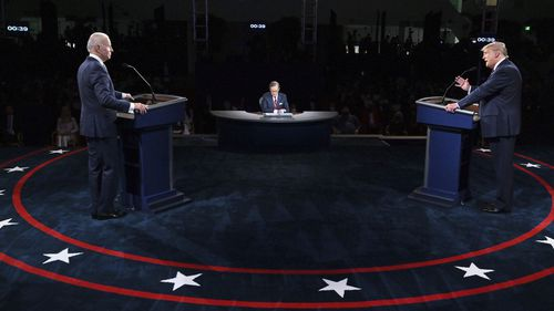 Joe Biden and Donald Trump in the first presidential debate.