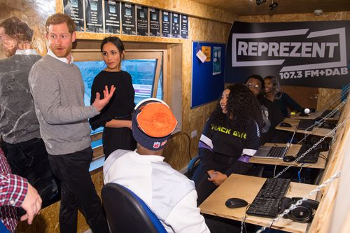 Prince Harry and Meghan Markle during a visit to youth-orientated radio station, Reprezent FM, in Brixton. (AAP)