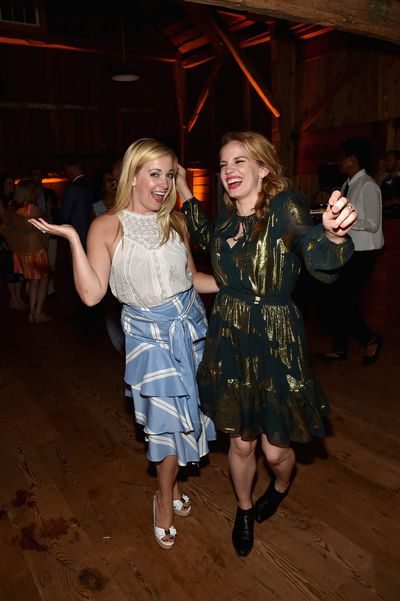 Melissa Joan Hart and Anna Chlumsky at the Net-a-porter x GOOD+ dinner at the Seinfeld's estate.