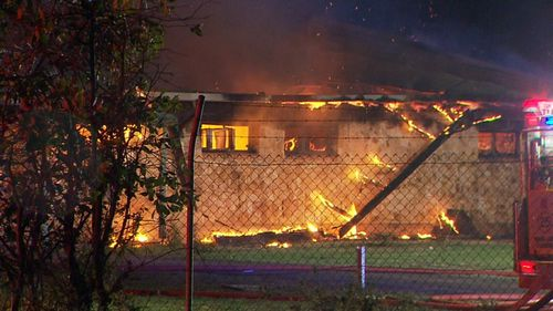 Police are investigating a fierce fire that destroyed a former bowls club and community centre at Munno Para.