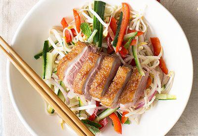 Hoisin duck and soba noodle salad