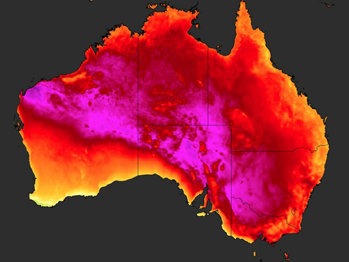 Parts of Australia's southeast coast were recorded as the hottest place on Earth today.