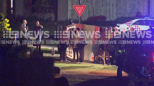 190423 Queensland police car rammed Brisbane Ipswich runaway driver stolen car JELLIED