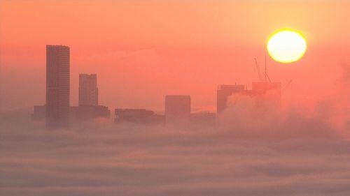 Brisbane blanketed by fog